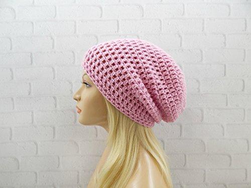 Pink Slouchy Hat Womens Beanie Crochet Winter Hat Crochet Slouch Beanie Baggy Hat Vegan Beanie