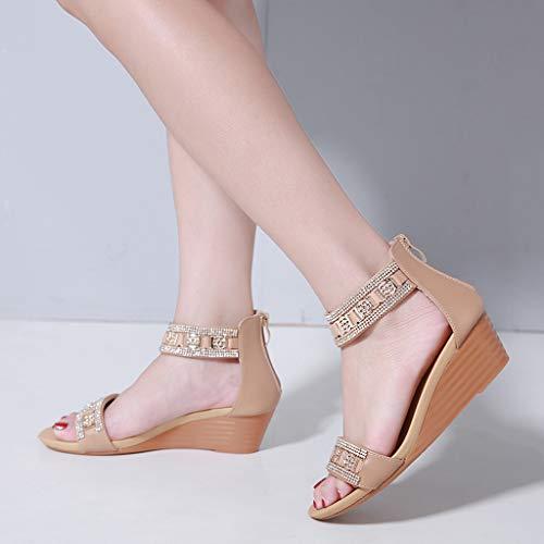 Sandales Strass Bohême Talon Chaussures Mode Moyen Femmes Cales Beige n0PwOk