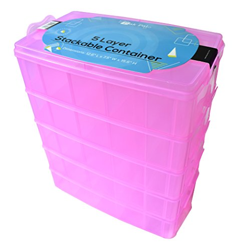 Stackable Storage Container Pink | Toy Organizer Box with 5 Layers of Adjustable Compartments | Carrying Case for Tidy Kids | Includes Fun Glow-In-The-Dark Stickers!