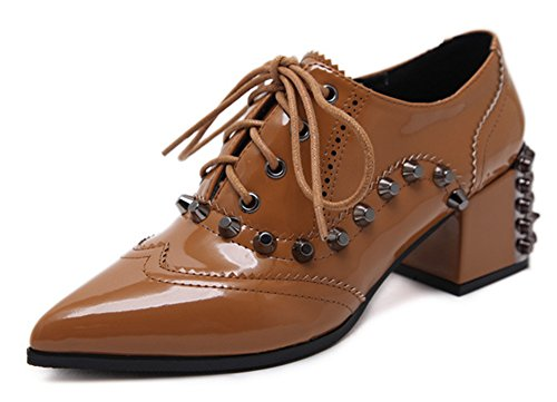 Aisun Womens Studded Pointed Toe Stylish Dressy Lace Up Booties Chunky Mid Heels Oxfords Shoes Brown DixlQRM
