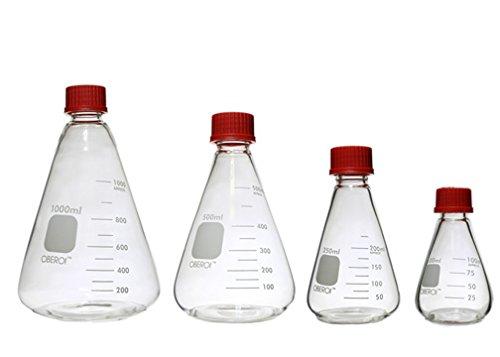 Erlenmeyer Flasks with Screw Caps Set, 1000 mL, 500mL, 250 mL, 100 mL, Graduated Borosilicate 3.3 Glass by Oberoi Laborglas (Image #6)
