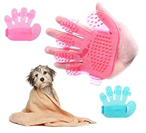 lovely Coco*store 2pcs Dogs Cats and Pets Rabbit Beauty Massage Rubber Bath Wash Brush Gloves