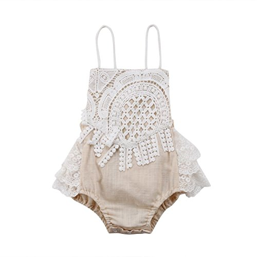 - Newborn Infant Baby Girl Clothes Lace Halter Backless Romper Bloomer Jumpsuit Bodysuit Sunsuit Outfits Set Beige