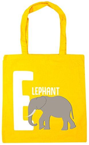 litres Beach Shopping HippoWarehouse Tote 10 alphabet x38cm elephant Gym animal Bag Yellow E for 42cm S8pgH
