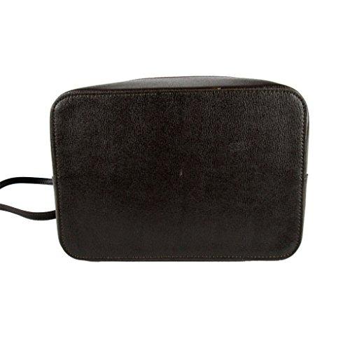 borsa a sacca in saffiano con tracolla in vera pelle made in italy marrone scuro