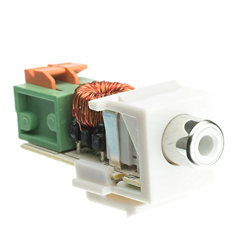 Keystone Insert, White, RCA Female to Balun over twister pair (White RCA), Working Distance 350 foot - Blank Decora Inline Coupler Jack Modular USB Outlet Wall Plate - Revo Repairs