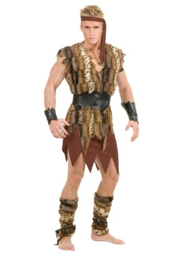 Charades Men's Cool Caveman Costume Set, Tan, Large