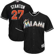 Miami Marlins MLB Mens Majestic Giancarlo Stanton Cool Base Replica Player Jersey Black Big & Tall Sizes