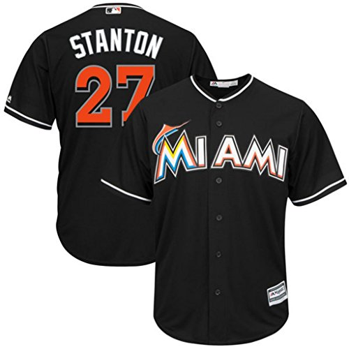 Miami Marlins MLB Mens Majestic Giancarlo Stanton Cool Base Replica Player Jersey Black Big & Tall Sizes – Sports Center Store