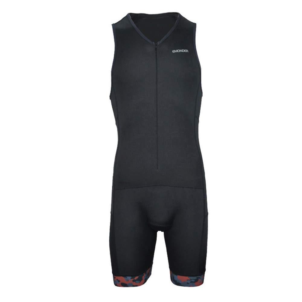EMONDER Men's Triathlon Short Sleeve Tri Suit Breathable Quick Dry Team Skinsuit Bike Swim Run (Black_Red, S)