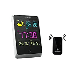 Wireless Digital Alarm Clock JUSTUP Weather Station Alarm Clock Table Clock Large LCD Screen With Indoor/Outdoor Temperature Humidity Forecast (BlackWSC)