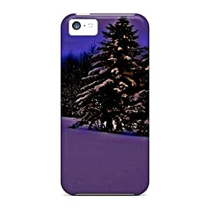 Top Quality Case Cover For Iphone 5c Case With Nice Dark Purple Winter Appearance