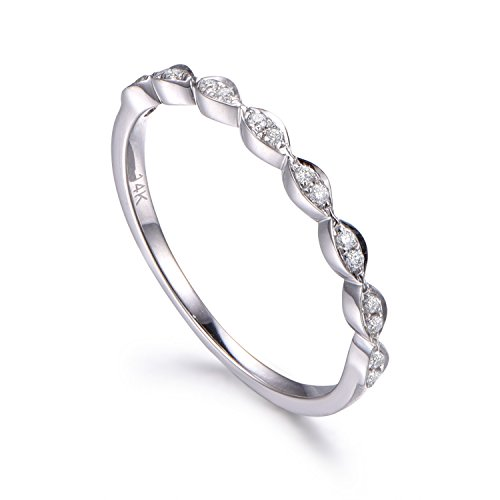 MYRAYGEM-wedding band Natural Diamonds,Half Eternity Wedding Ring,Solid 14K White gold,Anniversary Ring,Art deco Marquise style ()