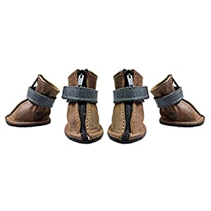 Hide & Drink, Resistant Leather Dog Shoes (4 pcs), Extra Small Size for Chihuahuas, Yorkshire Terrier, Mini Pinscher/Paw Size (1.75 in.) Long x (1 in.) Width, Handmade :: Bourbon Brown 1