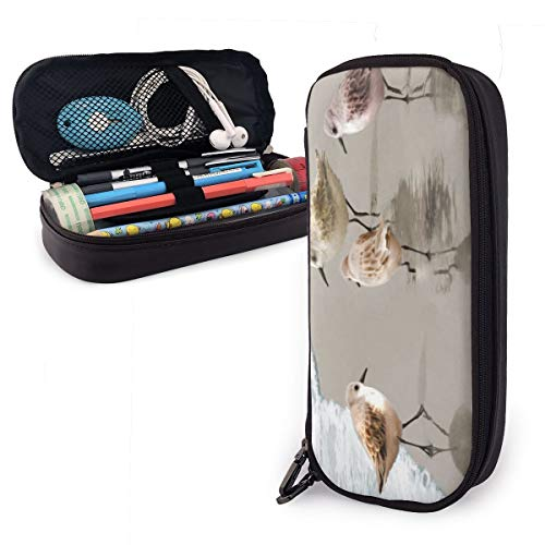 Sandpiper On The Beach Students Big Capacity Leather Pencil Case Pen Pouch Stationery Craft Supplies for School Work Office Gift