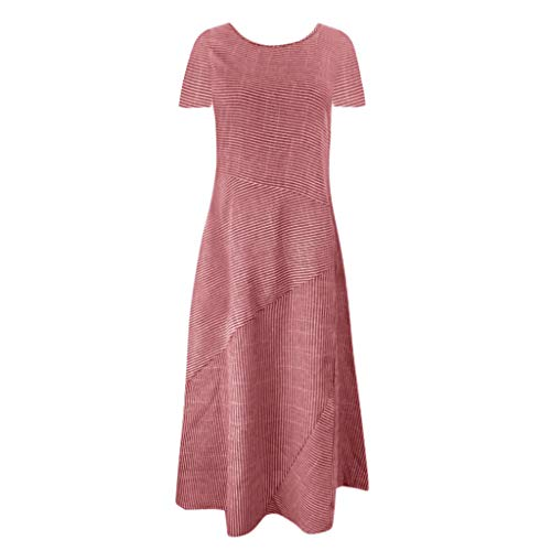 YKARITIANNA 2019 Women Casual Striped Short Sleeve Dress Crew Neck Linen Pocket Long Dress Red