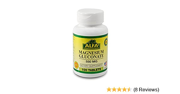 Amazon.com: Magnesium Gluconate 550 Mg 100 Tablets By Alfa Vitamins. Cardiovascular Health. Muscle Weakness. Dizziness: Health & Personal Care