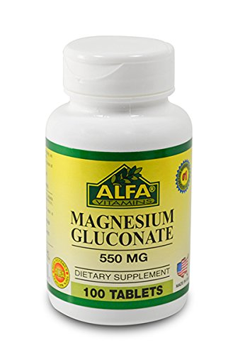 Magnesium Gluconate 550 Mg 100 Tablets By Alfa Vitamins. Cardiovascular Health. Muscle Weakness.
