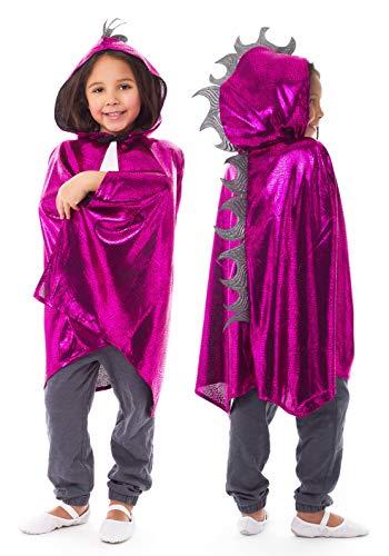 Little Adventures Deluxe Childrens Dragon Cloak Cape Age 3-8 (Magenta)