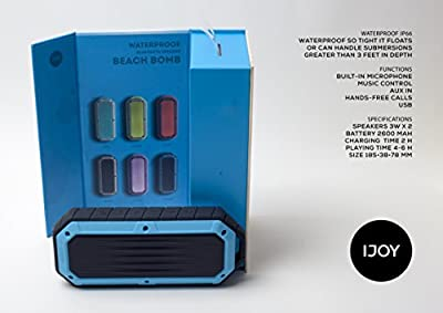iJoy Beach Bomb IP66 Waterproof Bluetooth Speaker Military Grade Shockproof Portable Rugged Speaker With built in Mic Aux-In and 2,000mAh Battery