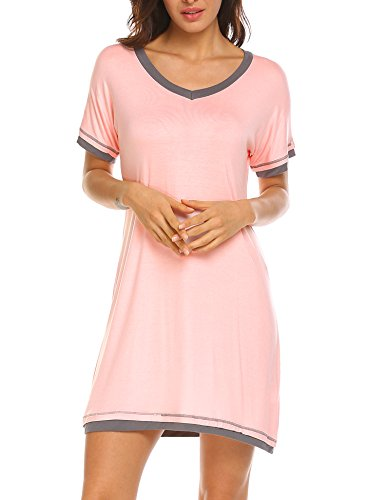 (Ekouaer Sleep Dress Women's V Neck Nightshirt Solid Color Patchwork Nightgown (Pink,L))