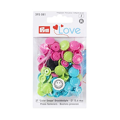 PrymLove Flower Shape Non-Sew ColorSnaps 13.6mm Snap Fasteners by Prym Love-Assorted Pack of Turquoise, Apple Green and Bright Pink (30pc), 12 x 7 x 2 cm