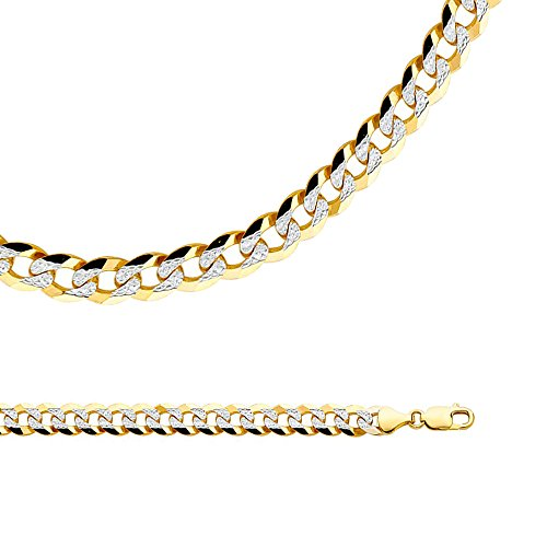 Solid 14k Yellow White Gold Necklace Cuban Chain Curb Pave Link Two Tone Big Heavy 9.8 mm 24 inch - Gold Heavy Cuban Pave Chain