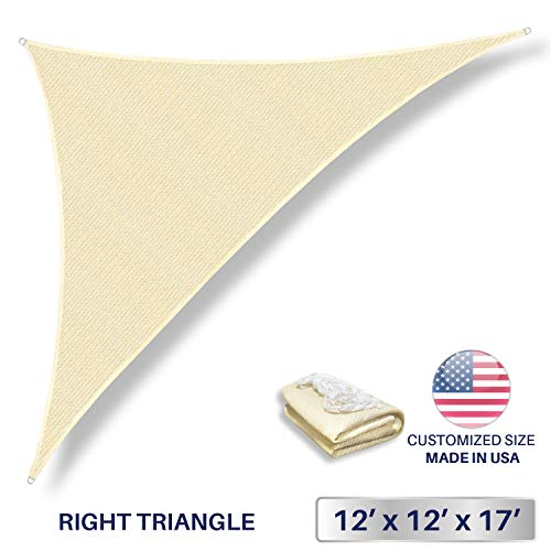 Windscreen4less 12 x 12 x 17 Sun Shade Sail Triangle Canopy in Beige with Commercial Grade 3 Year Warranty Customized