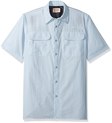 Wrangler Authentics Men's Short Sleeve Utility Shirt, Cashmere Blue, L