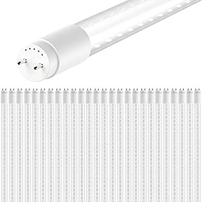 "Sunco Lighting 26 Pack T8 LED Tube Light 4ft 48"", 18W, 4000K Kelvin Cool White, 2200 Lumens, Bypass Ballast. Fluorescent Replacement Lamp, UL, DLC, 2 Sided Connection, Clear"