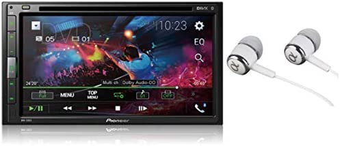 Pioneer AVH-310EX 6.8 Double DIN Touchscreen Display, Apple iPhone and Android Music Support, Bluetooth In-Dash DVD CD AM FM Front USB Digital Multimedia Car Stereo Receiver Free Alphasonik Earbuds