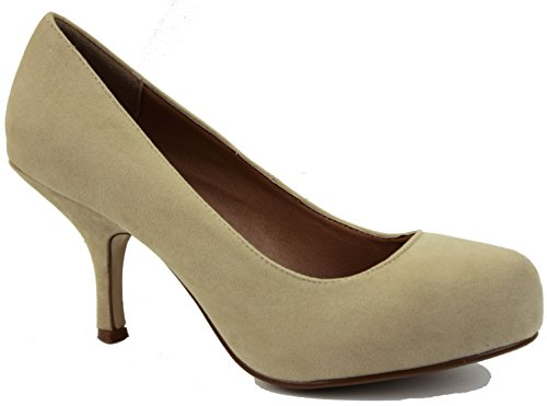 shoegeeks Ladies Womens Work Casual Office Smart Low Mid High Kitten Stiletto Heels Bridal Court Bridesmaid Shoes Pumps Size 3-8 Beige Suede ZTRojQ