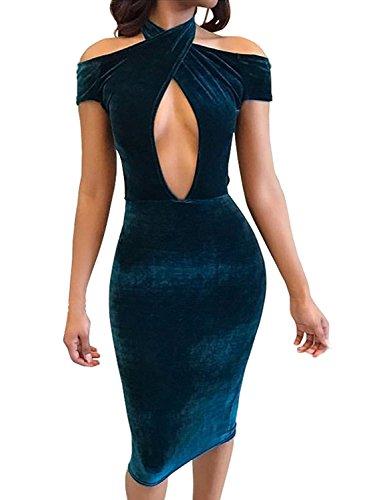 blue velvet midi dress - 8