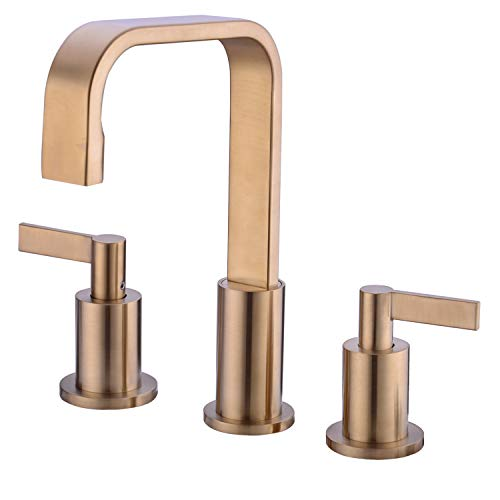TRUSTMI 2 Handle Widespread Brushed Gold Brass Bathroom Faucet 3 Hole with Valve and cUPC Faucet Supply Hoses
