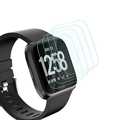 [4-Pack] Simpeak for Fitbit Versa Screen Protector, Tempered Glass Screen Protector for Fitbit Versa Smartwatch [HD Clear] [9H Hardness] [No Bubble]
