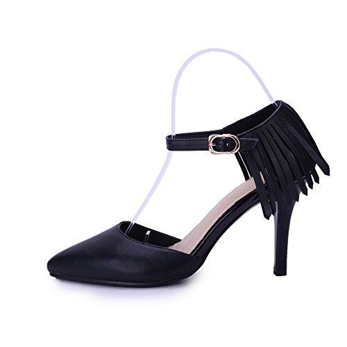 Amoonyfashion Kvinna Ko Läder Fast Spänne Pekade Sluten Tå Spikar Stilettos Pumpar-skor Svarta