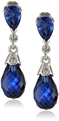 (10k White Gold Created Blue Sapphire and Diamond-Accent Earrings (0.02 cttw, H-I Color, I2-I3)