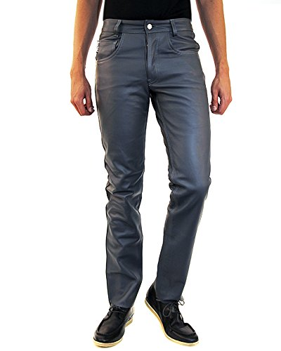 New Mens Leather Pants - Bockle® Gray leather jeans for men Leatherjeans Men Pants Leather Jeans New, Size: W32/L34