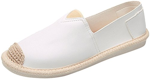 Satuki Loafer Schoenen Voor Dames, Pleather Slip Op Casual Flat Fashion Sneakers Wit