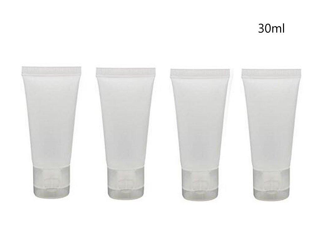 24PCS 30ml (28, 3gram) vuote bottiglie di plastica traslucida cosmetici lozione tubi shampoo detergente viso trucco campione soffice Container Tube Bottle flaconcino barattolo di: pentola con coperchio in ericotry