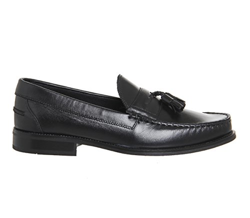 Ask The Missus Bonjourno Tassel Loafers Black Leather Black Sole