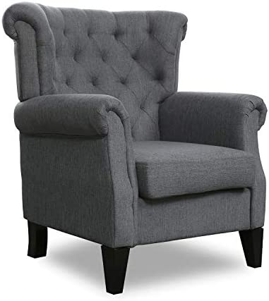 Top Space Fabric Accent Chair Mid Century Upholstered Fabric Single Arm Sofa Modern Comfy Indoor Decorative Furniture