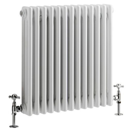 "Hudson Reed - Regent - Traditional White Horizontal 3-Column radiator With Stunning Cast-Iron Style- 23.5"" x 24"""