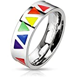 Bague gay pride triangle arc en ciel