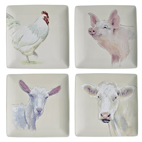 Square Farm Animal Plates Set