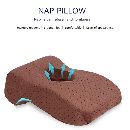 SOMIDE Nap Sleeping Face Pillow, Memory Foam Slow Rebound Face Down Desk Pillow Sleeper Back Support, Hollow Design, Removable Washable Velvet Cover Khaki