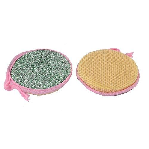 eDealMax vajilla tazn de Fuente Redondo de la placa 2pcs plumero trapo de limpieza Exfoliante Esponja