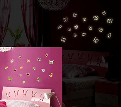 BIBITIME Glow in the Dark Wall Decals 17 Dancing Beautiful Butterflies Dresser Luminous Stickers Home Kid Room Decor for Baby Nursery Bedroom