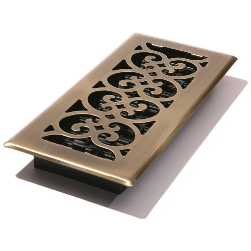 Decor Grates SPH310-A 3-Inch by 10-Inch Scroll Floor Register, Antique Brass ()