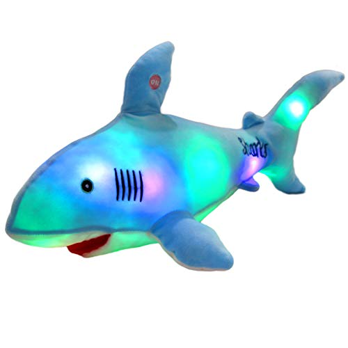 Bstaofy LED Blue Shark Stuffed Animal Glow Plush Ocean Species Toy Night Lights Gift for Kids, 20 Inches